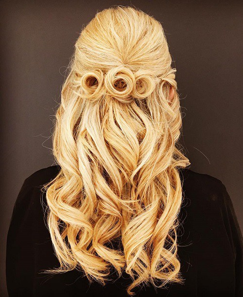 rosette half updo for brides