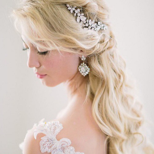 bridal half updo with tiara