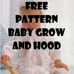 Free knitting pattern to knit a Baby Grow and Hood