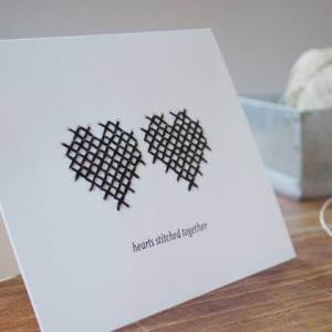Hearts Stitched Together - Handmade for Valentine Day