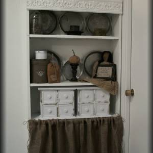 Bookcase Burlap Curtain