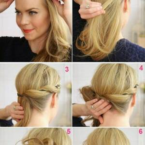 Low bun construction on the side with buckle