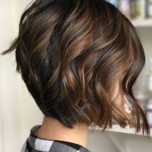 dark brown balayage short hair