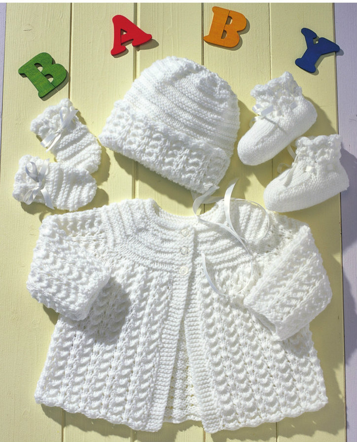 Matinee Coat, Bonnet, Mittens and Booties