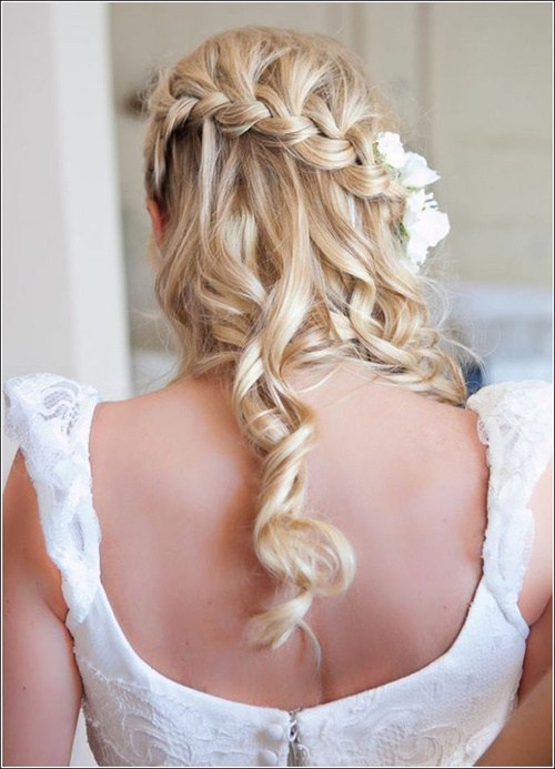 wedding hairstyle with waterfall braid