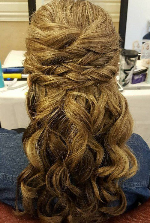 half up wedding hairstyle with twists