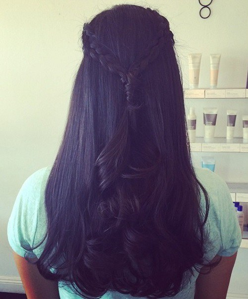 two braids half updo