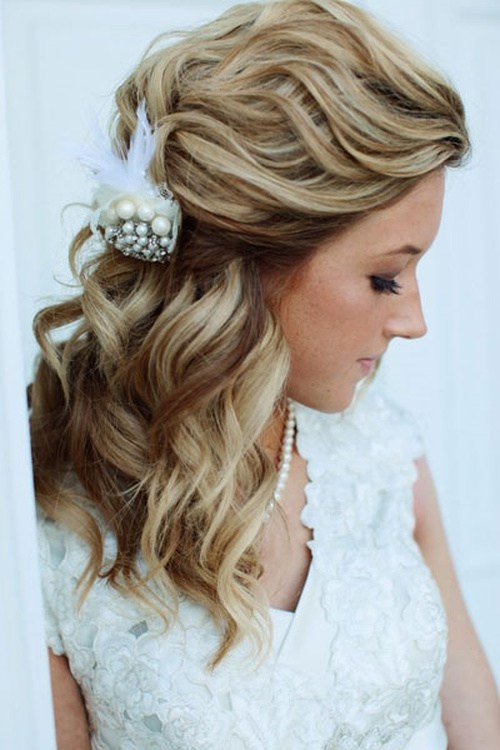 wavy wedding half up half down hairstyle