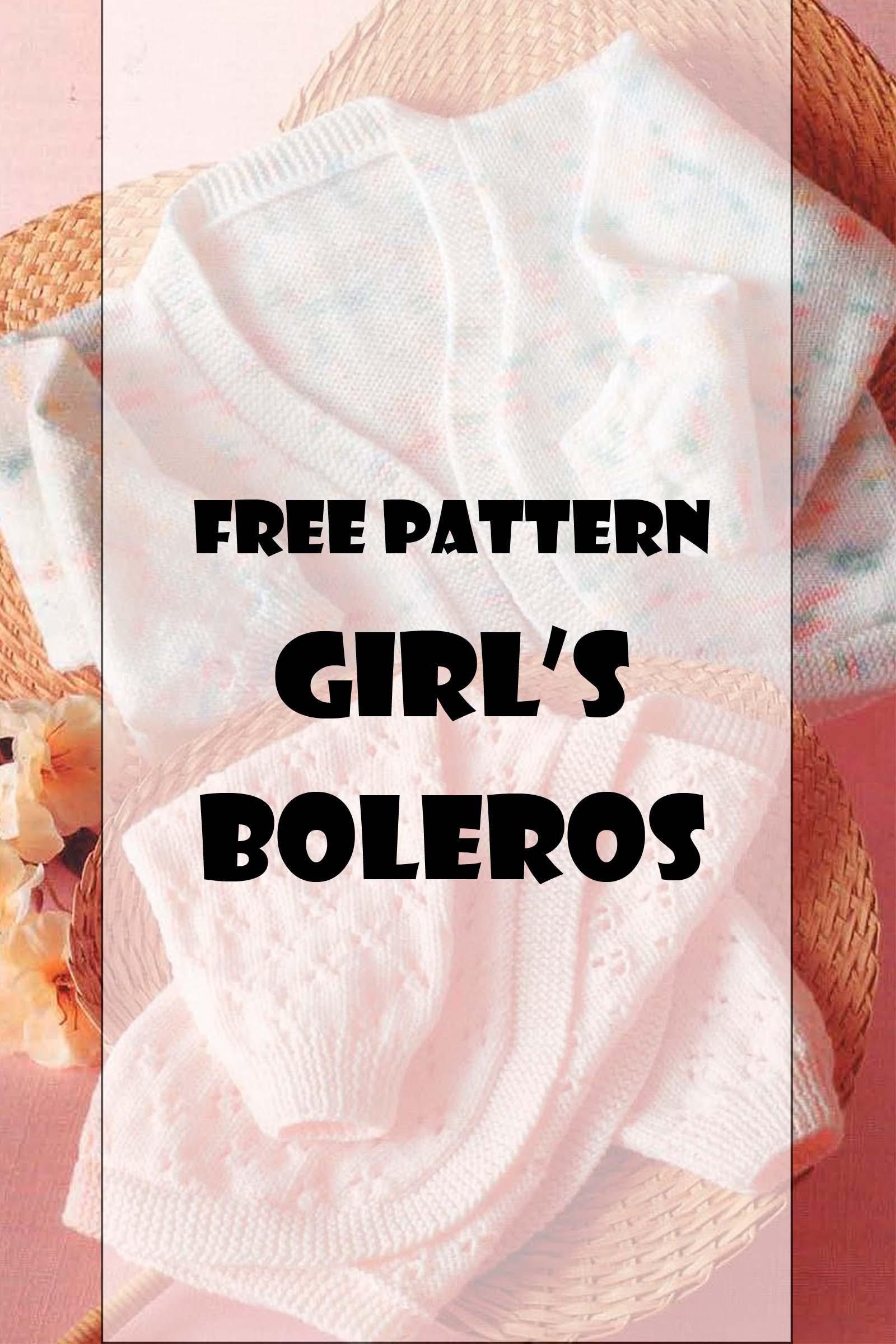 Free knitting pattern to knit a baby girls bolero.