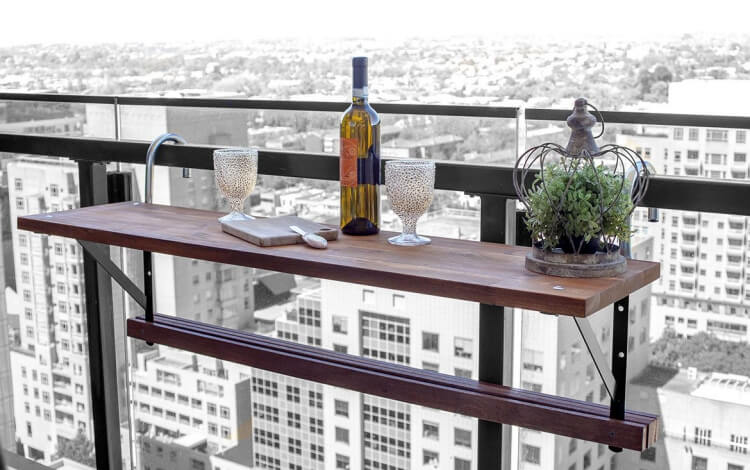 make table for small balcony screw planks supporting structure